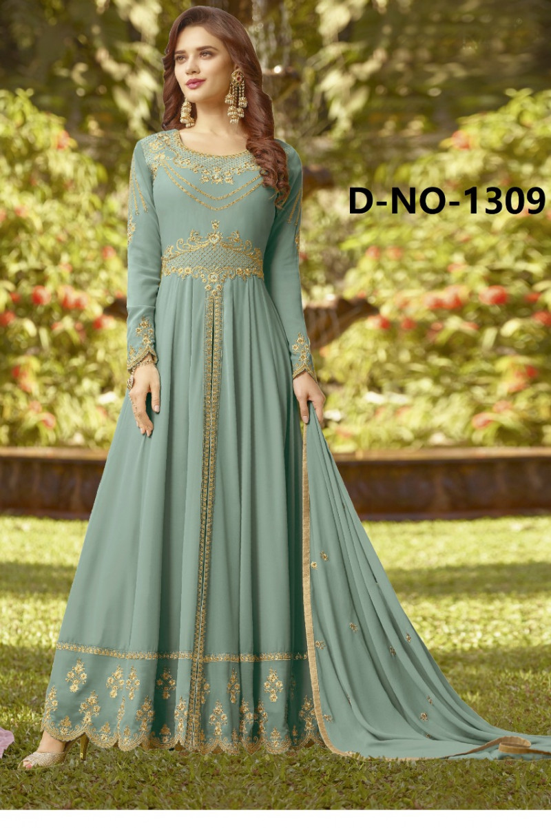 Classy Georgette Grey Colour Anarkali Suit And Nazmeen Dupatta