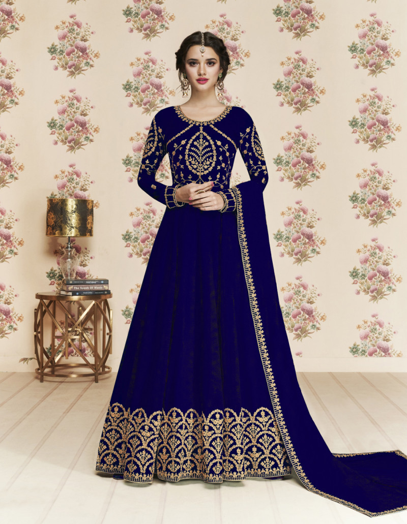 Gleaming Navy Blue Colour Anarkali suit And Dupatta Wor Girls