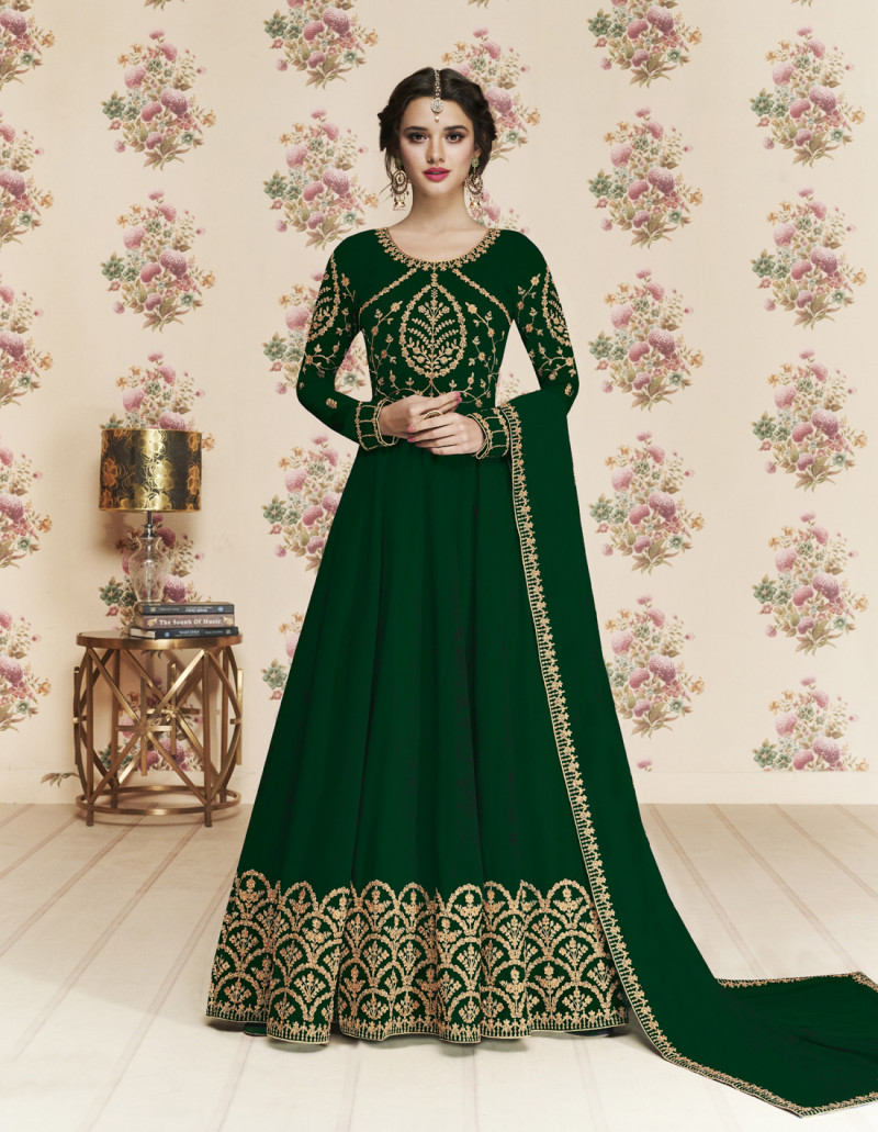 Gleaming Faux Green Colour Anarkali Suit With Dupatta For Women