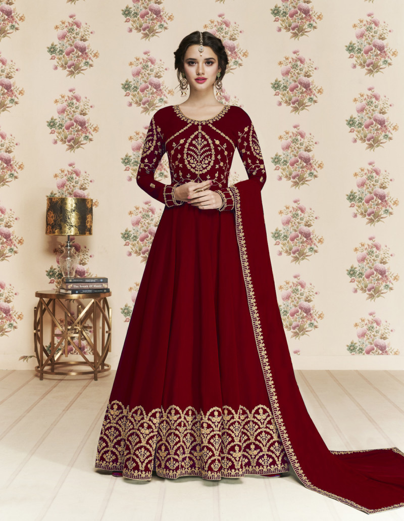 Blushing Fancy Maroon Colour Anarkali Suit And Dupatta For Girls