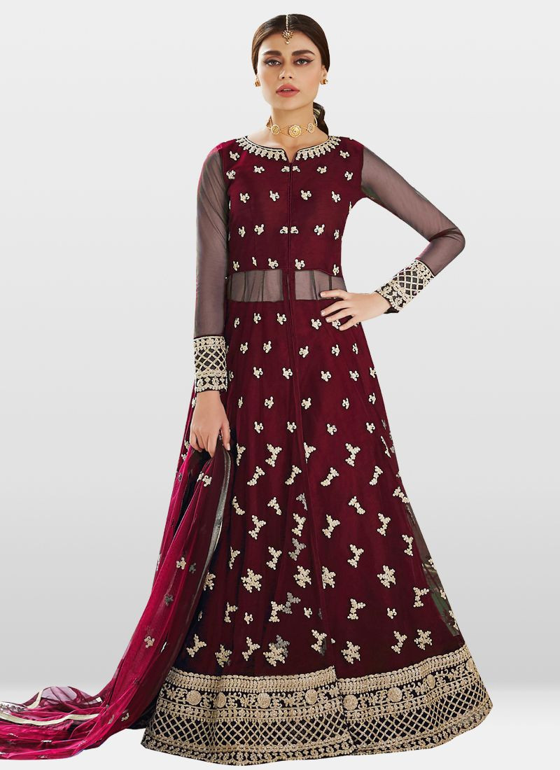 Flaunt Maroon Colour Embroidered Anarkali Suit With Dupatta