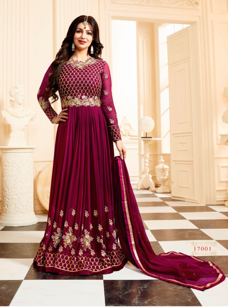 Ayesha Takia Wear Pueple Colour Long Embroidered Indian Dress