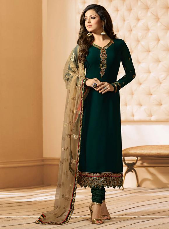 Drashti Dhami Wear Green Colour Embroidered Salwar Suit With Dupatta For Girls