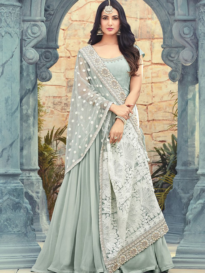 Fantastic Georgette Grey Colour Indian Dress And Dupatta For Girls