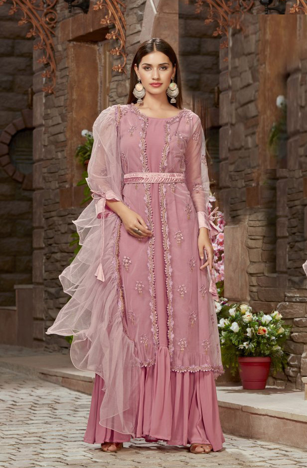 Mesmerising Pink Colour Sharara Suit And Dupatta For Women