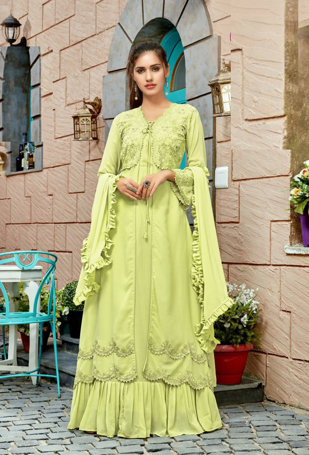Magnetic Neon Green Colour Long Gown And Dupatta For Women