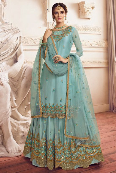Flamboyant Light Blue Colour Sharara Suit And Dupatta For Women
