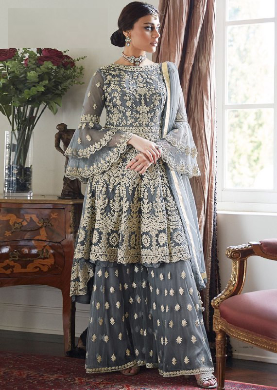 Pleasance Grey Colour With Embroidery Worked Sharara Suit For Women