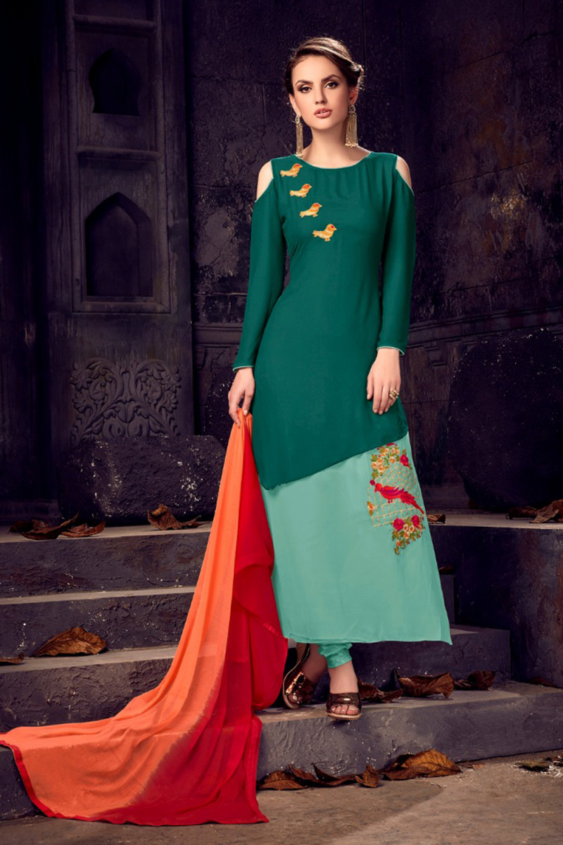 Gorgeous Green Colour Embroidered Semi Stitched Anarkali Suit For Girls