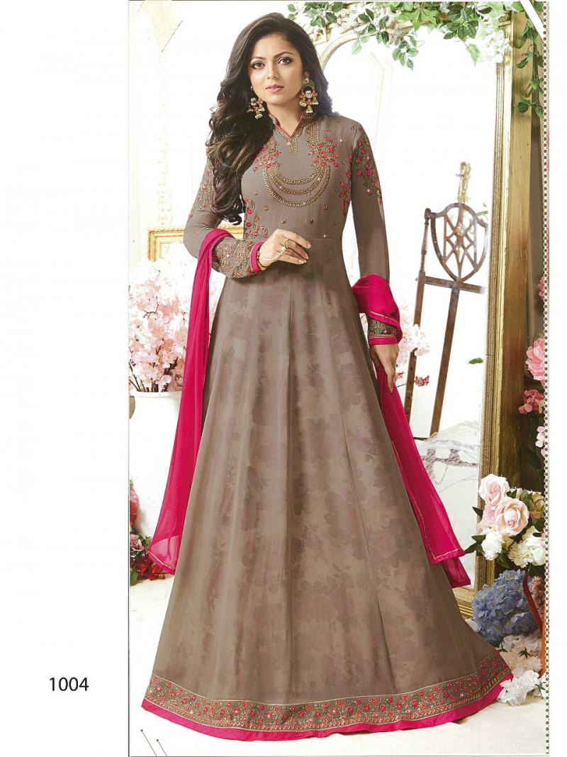 Drashti Dhami Wear Gray Colour Embroidery And Coding Worked Anarkali Suit