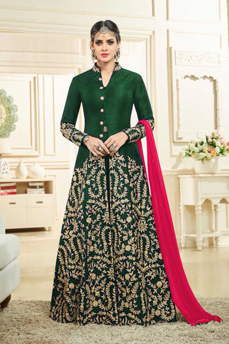 Pretty Green Colour Banglory Silk Satin Embroidered Salwar Suit