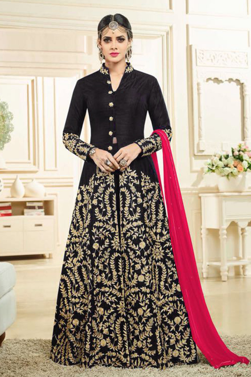 Flattering Black Colour Banglory Silk Satin Embroidered Sarara Suit For Girls