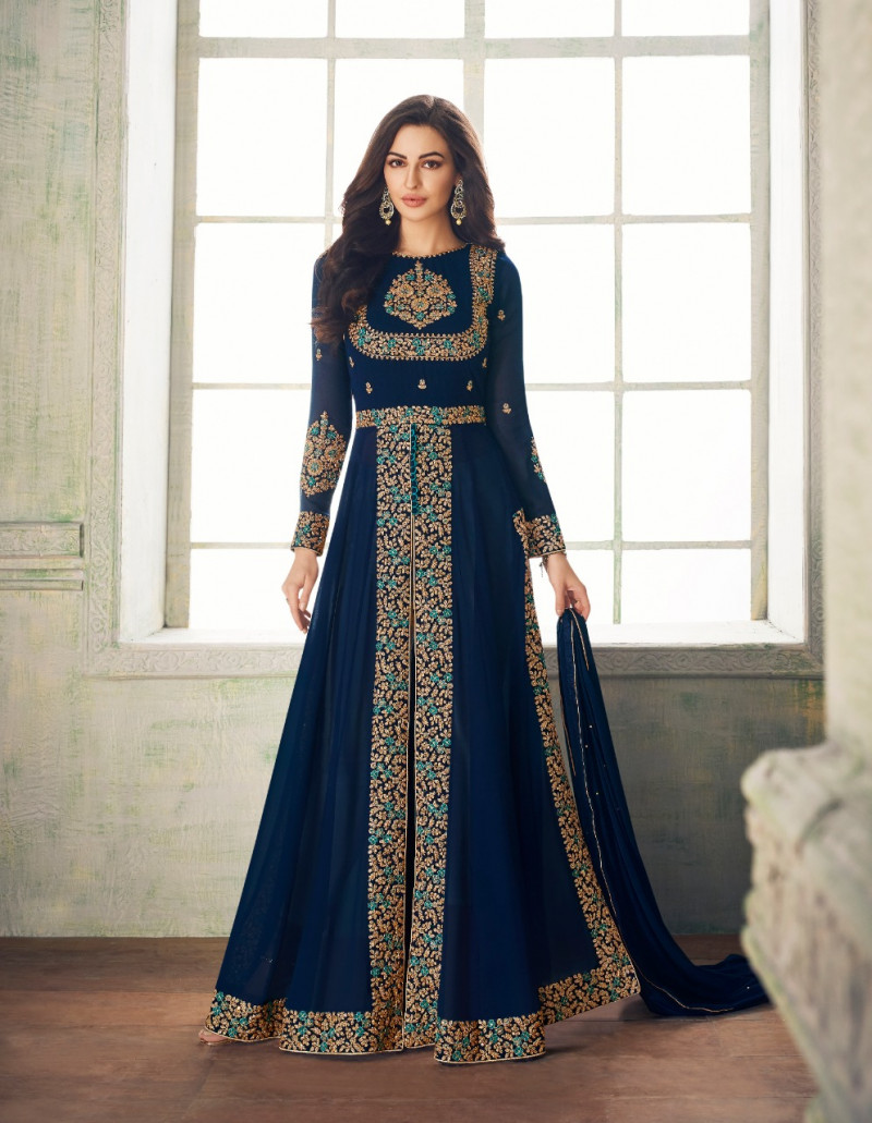 Gleaming Blue Colour Embroidered Georgette Anarkali Suit