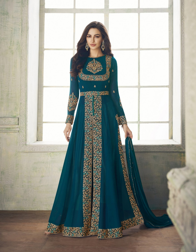Eye catching Cyen Colour Embroidered Georgette Anarkali Suit