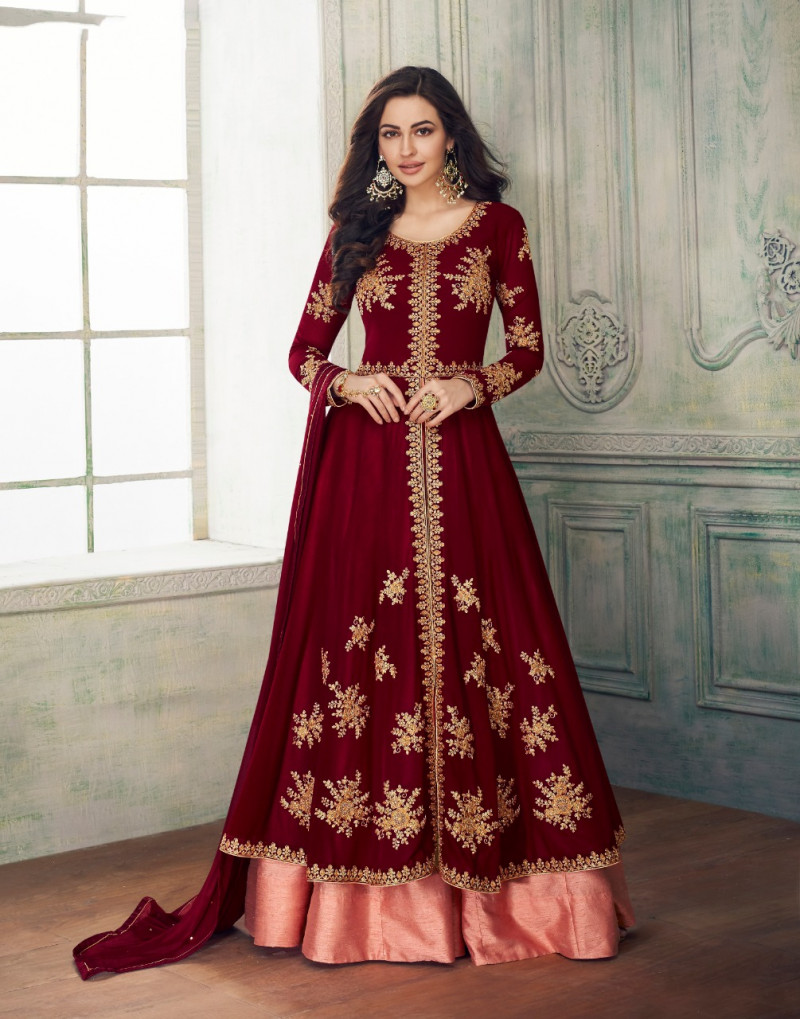 Outstanding Red Colour Faux Georgette Anarkali Suit