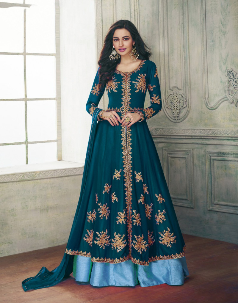 Meticulous Firozi Colour Faux Georgette Anarkali Suit