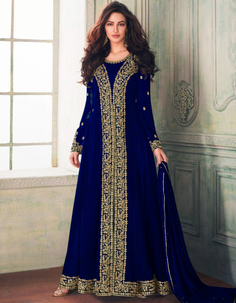 Energetic Blue Colour Faux Georgette Anarkali Suit