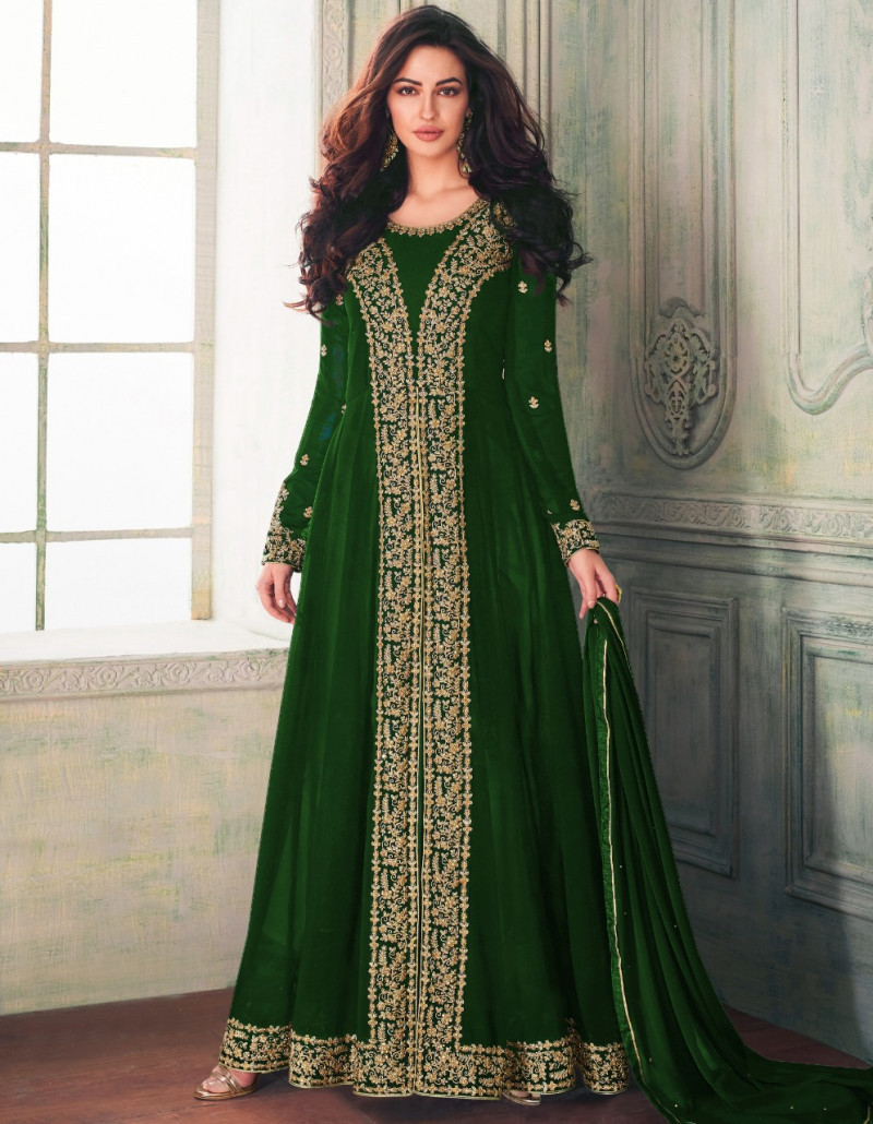 Peacefull Green Colour Festival Wear Anarkali Suit