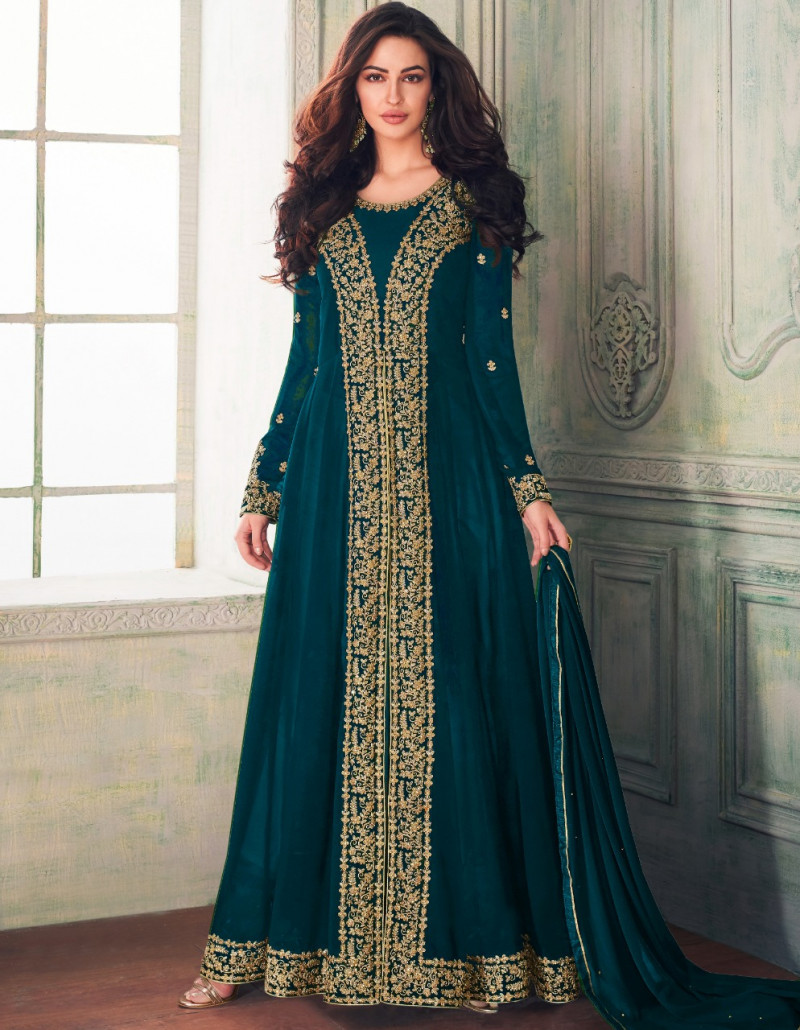 Fancy Firozi Colour Faux Georgette Festival Wear Anarkali Suit