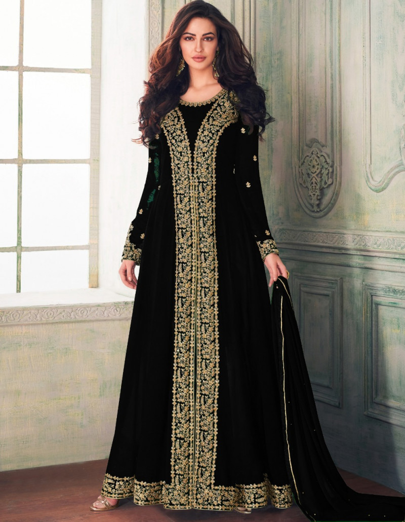 Hypnotic Black Colour Faux Georgette Festival Wear Anarkali Suit