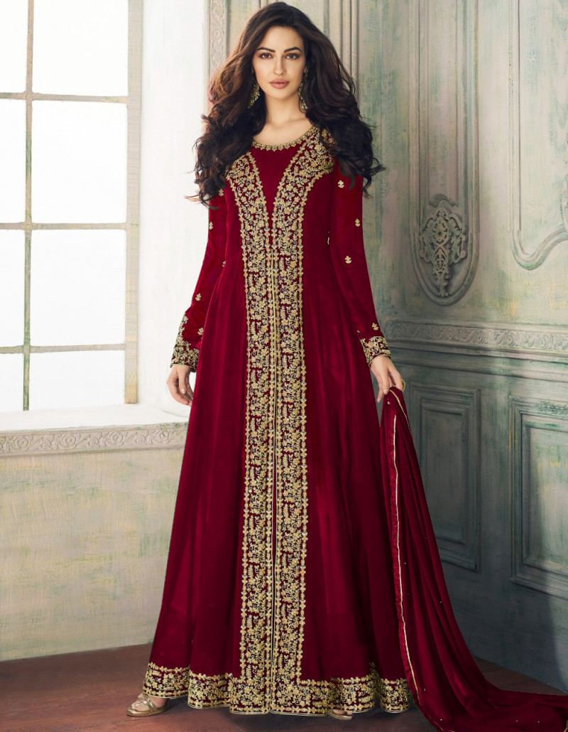 Opulent Maroon Colour Faux Georgette Festival Wear Anarkali Suit