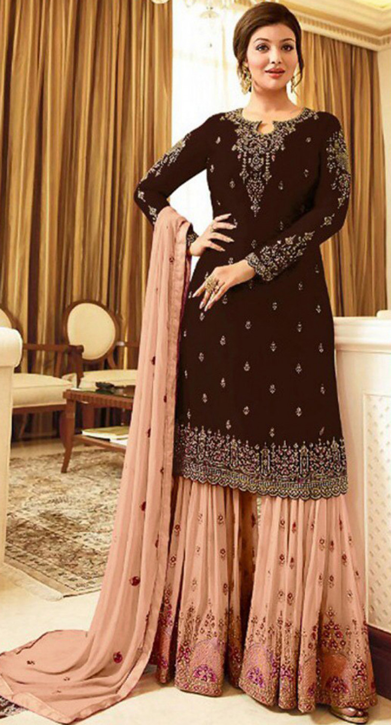 Mesmerising Brown Colour With Embroidered Sharara Suit