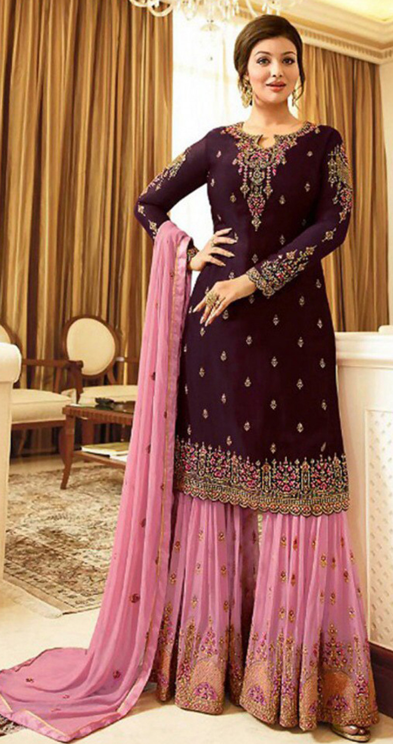 Magnetic Wine Colour With Embroidered Sharara Suit For Women
