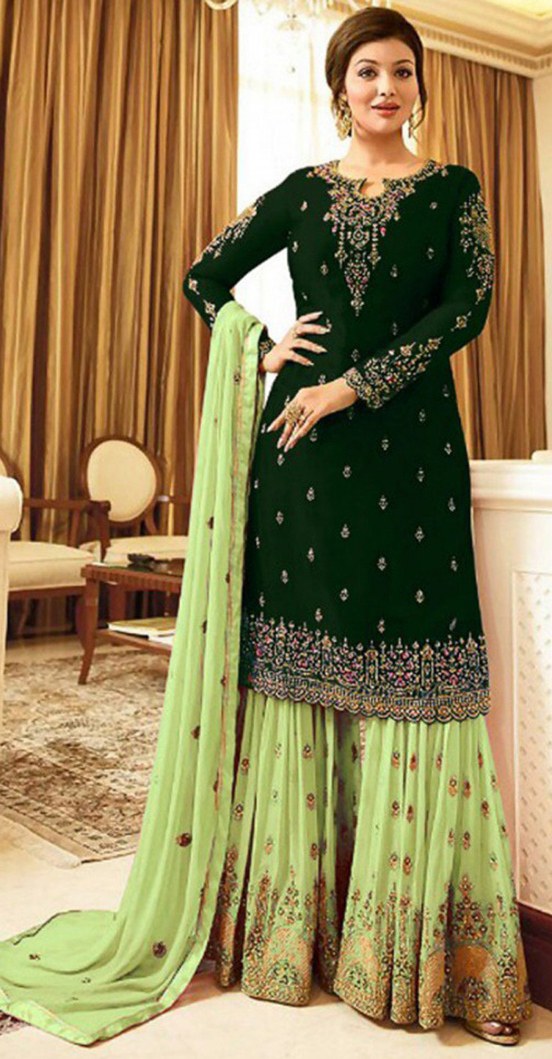 Flamboyant Dark Green Colour With Embroidered Sharara Suit