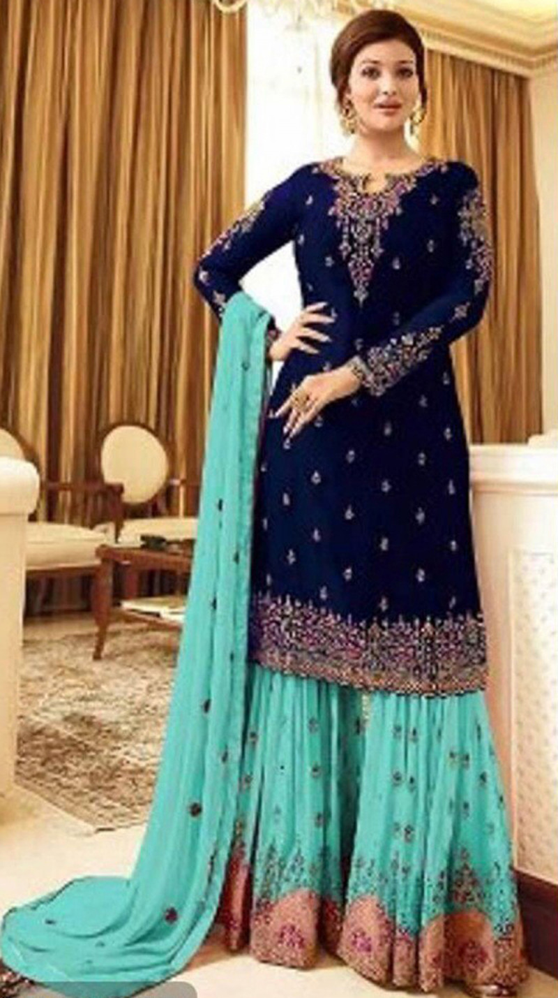 Intricate Navy Blue Colour With Embroidered Sharara Suit