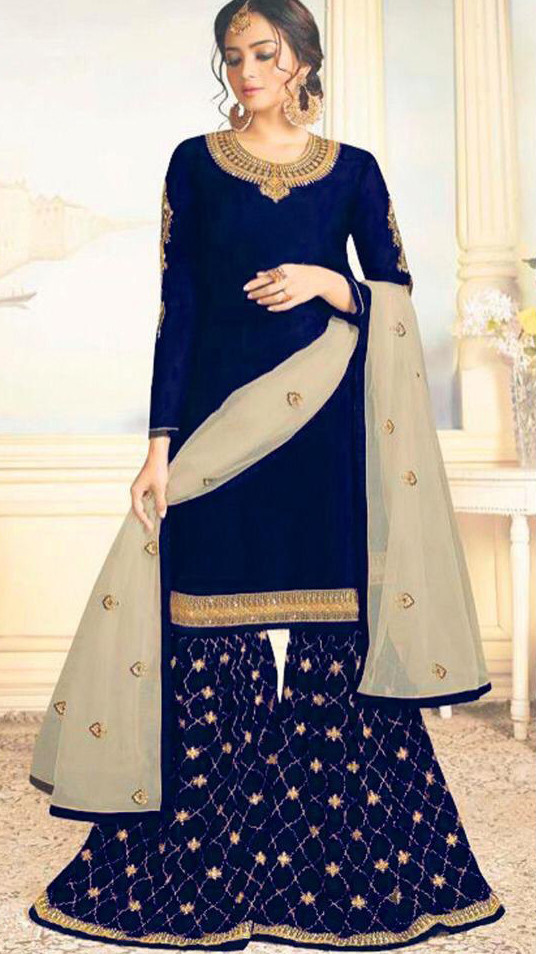 Capricious Navy Blue Colour Embroidered Sharara Suit