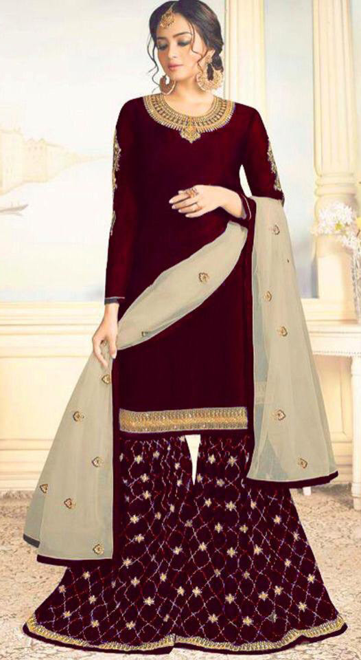 Appealing Fancy Maroon Colour Embroidered Sharara Suit