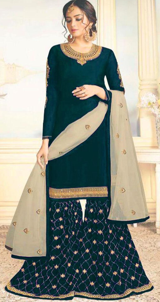 Prominent Dark Green Colour With Embroidered Sharara Suit