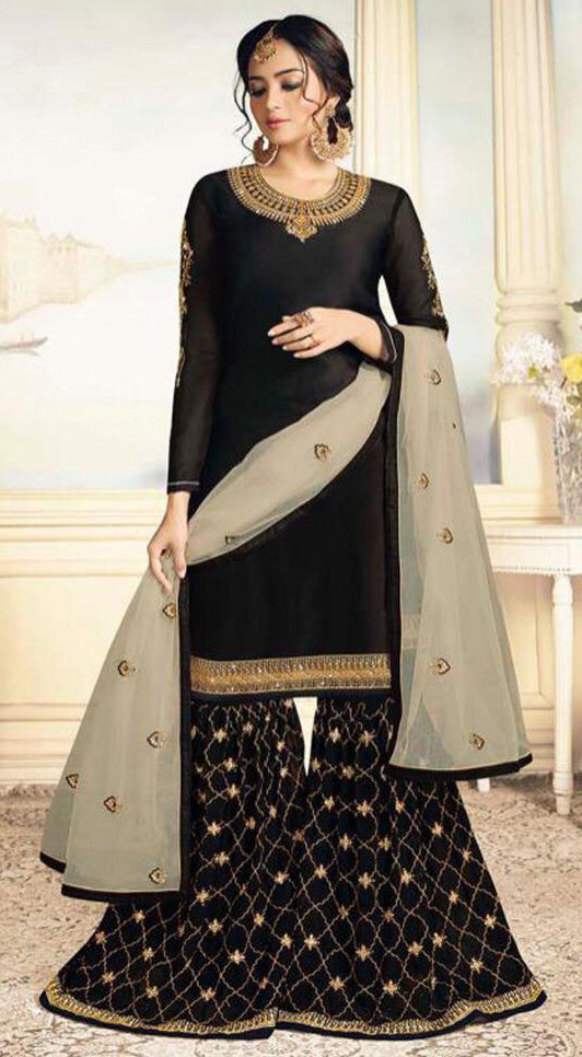 Breathtaking Black Colour Embroidered Sharara Suit