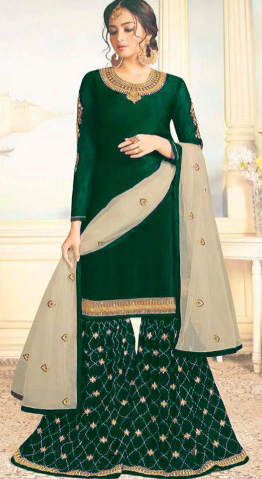Pleasance Green Colour Embroidered Sharara Suit