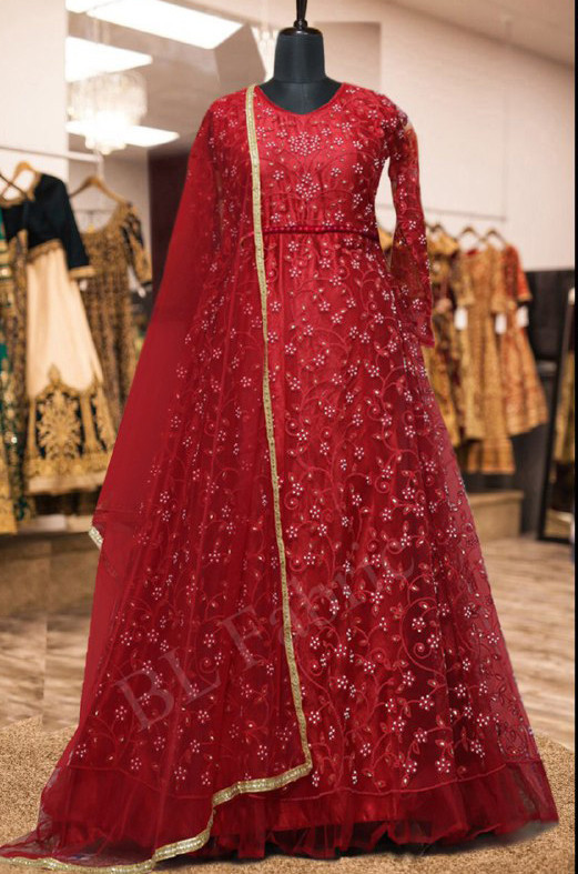 Pleasance Red Colour With Embroidered Anarkali Suit