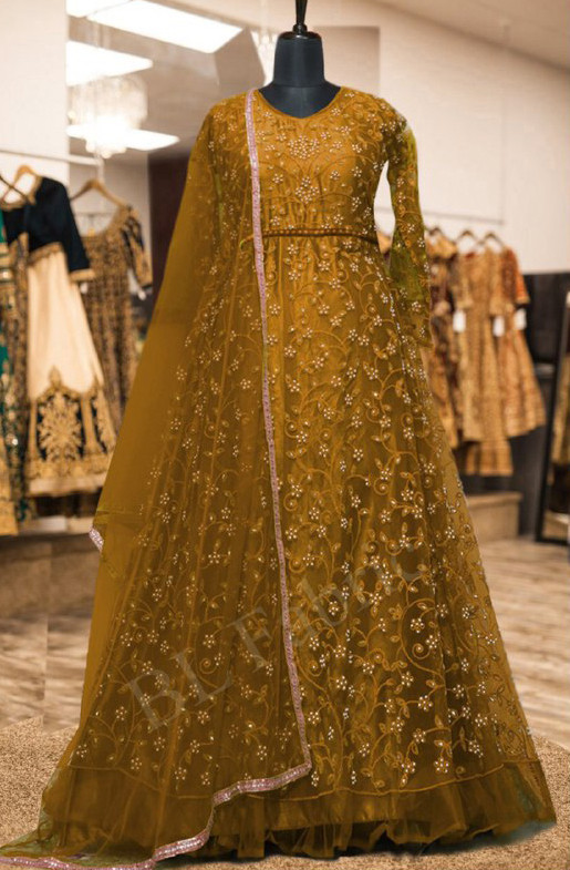Innovative Golden Colour With Embroidered Anarkali Suit