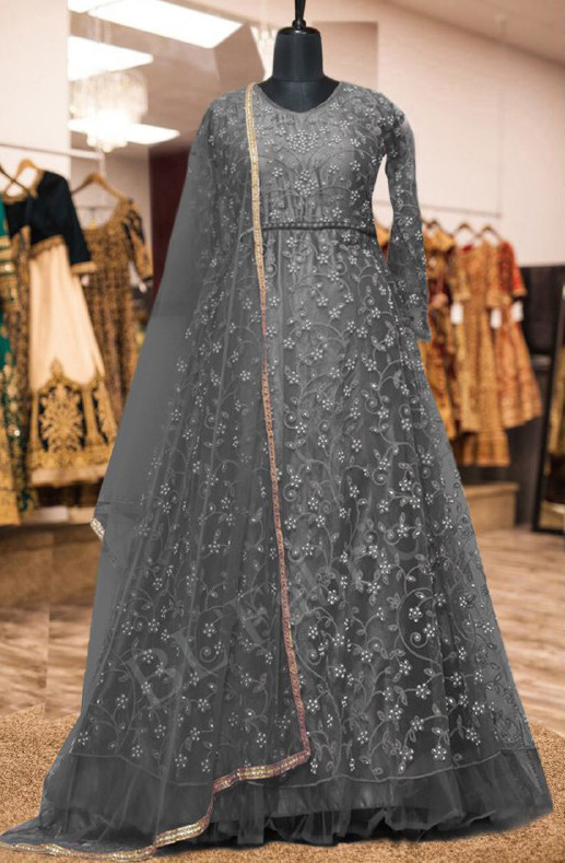 Stylee Lifestyle Grey  Colour With Embroidered Anarkali Suit