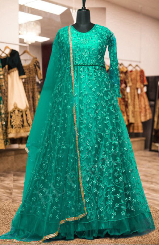 Captivating Turqoise Colour With Embroidered Anarkali Suit