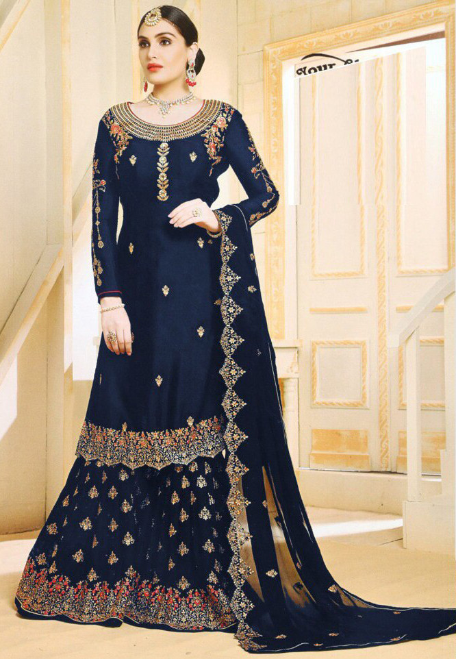 Engrossing Navy Blue Colour With Embroidery Worked Sharara Suit