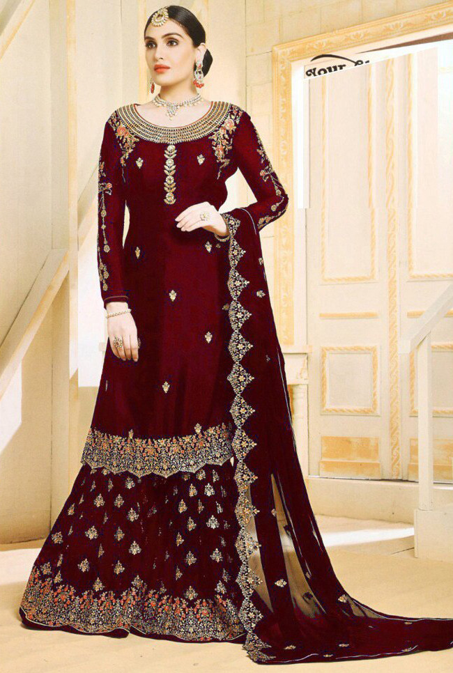 Mind Blowing Maroon Colour With Embroidered Sharara Suit