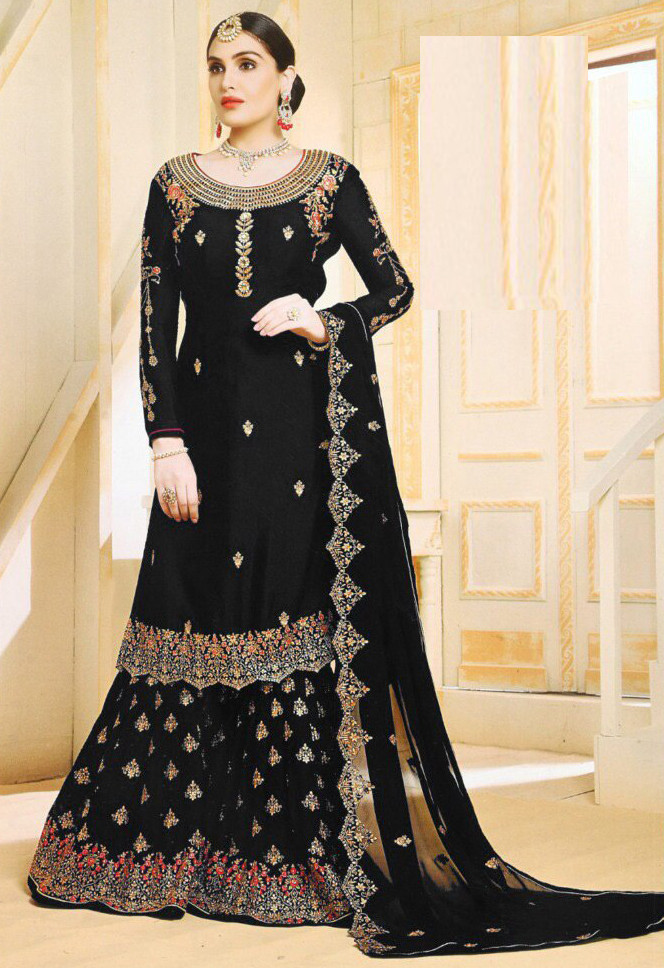 Pleasant Black Colour With Embroidered Sharara Suit