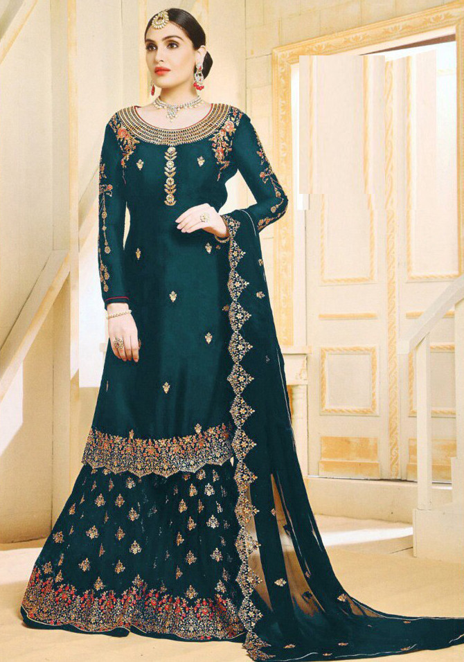 Fabulous Peacock Green  Colour With Embroidered Sharara Suit