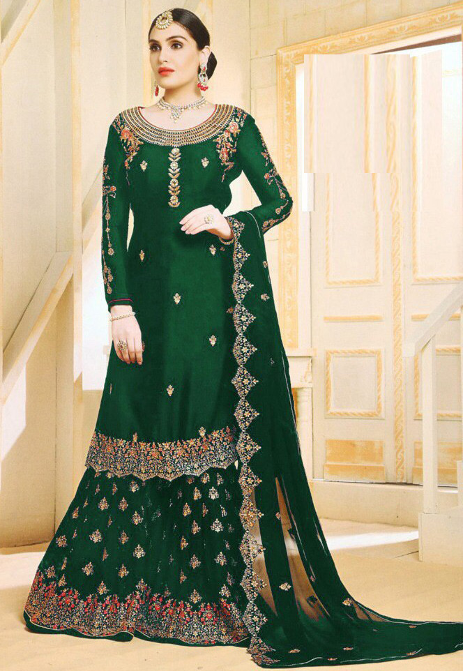 Good Looking Green Colour With Embroidered Sharara Suit