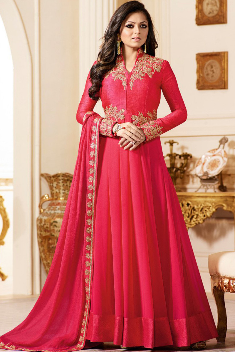 Drashti Dhami Wear Pink Colour Embroidered Anarkali Suit