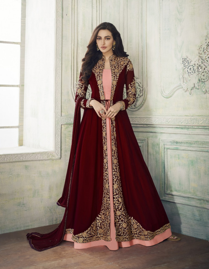 Imposing Maroon Colour Embroidered Georgette Anarkali Suit