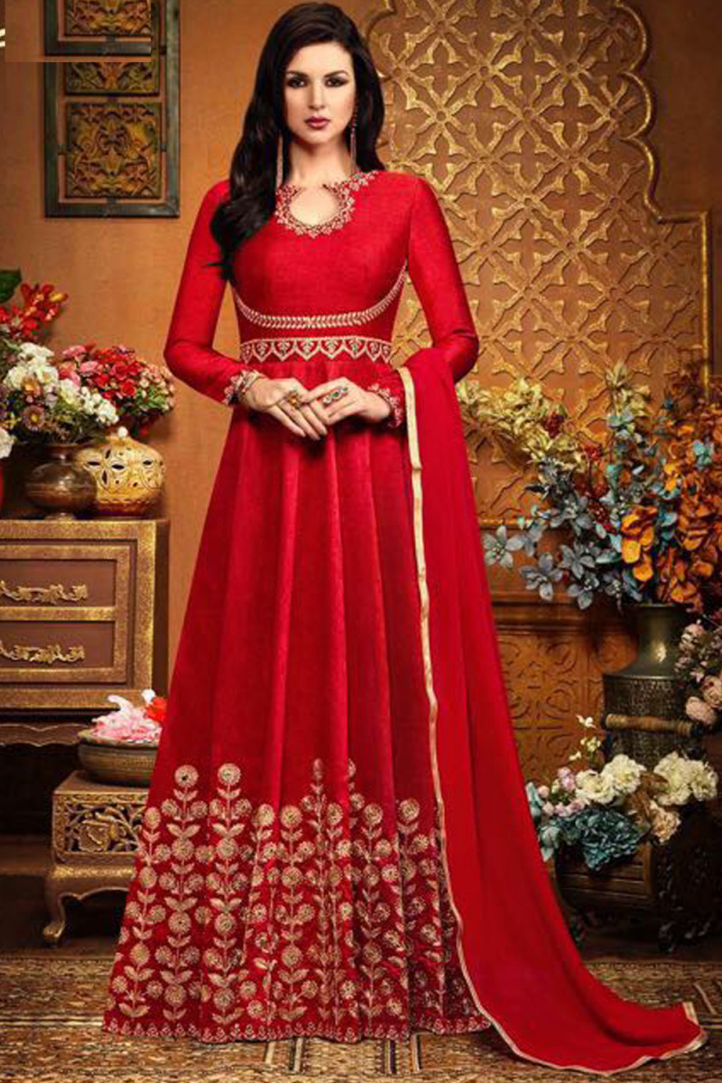 Blissful Red Colour Classic Wedding Wear Anarkali Suit