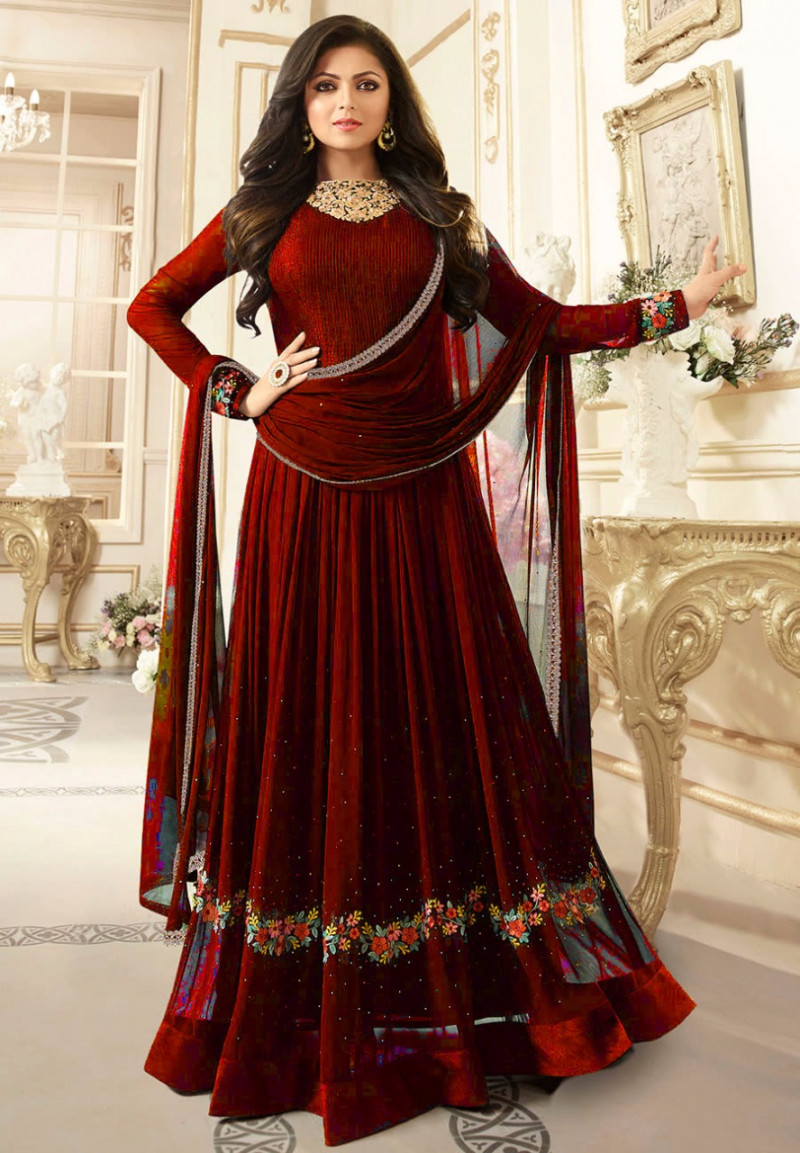 Classy Maroon Colour Georgette Embroidered Work Anarkali Suit