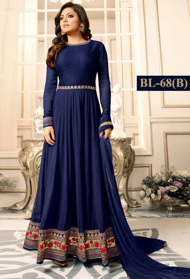 Flaunt Navy Blue Colour With Floral Embroidered Anarkali Suit