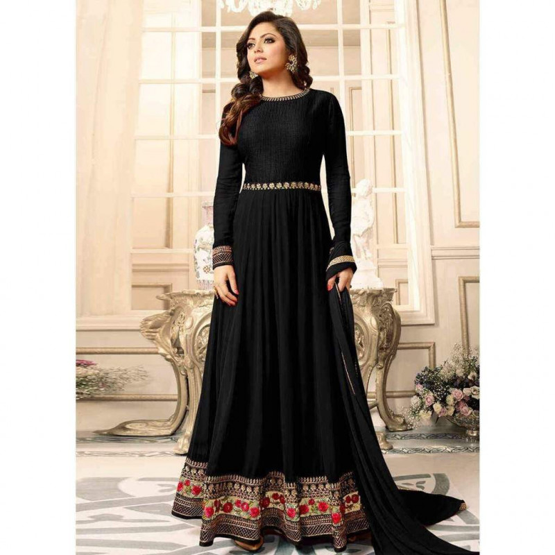 Flattering Black Colour With Floral Embroidered Anarkali Suit