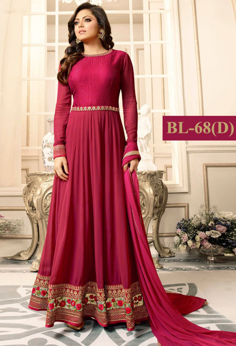 Brilliant Drashti Dhami Pink With Floral Embroidery Anarkali Suit